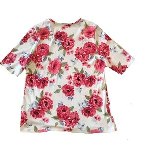 Karen Scott Printed V-Neck Top Gardenia XL